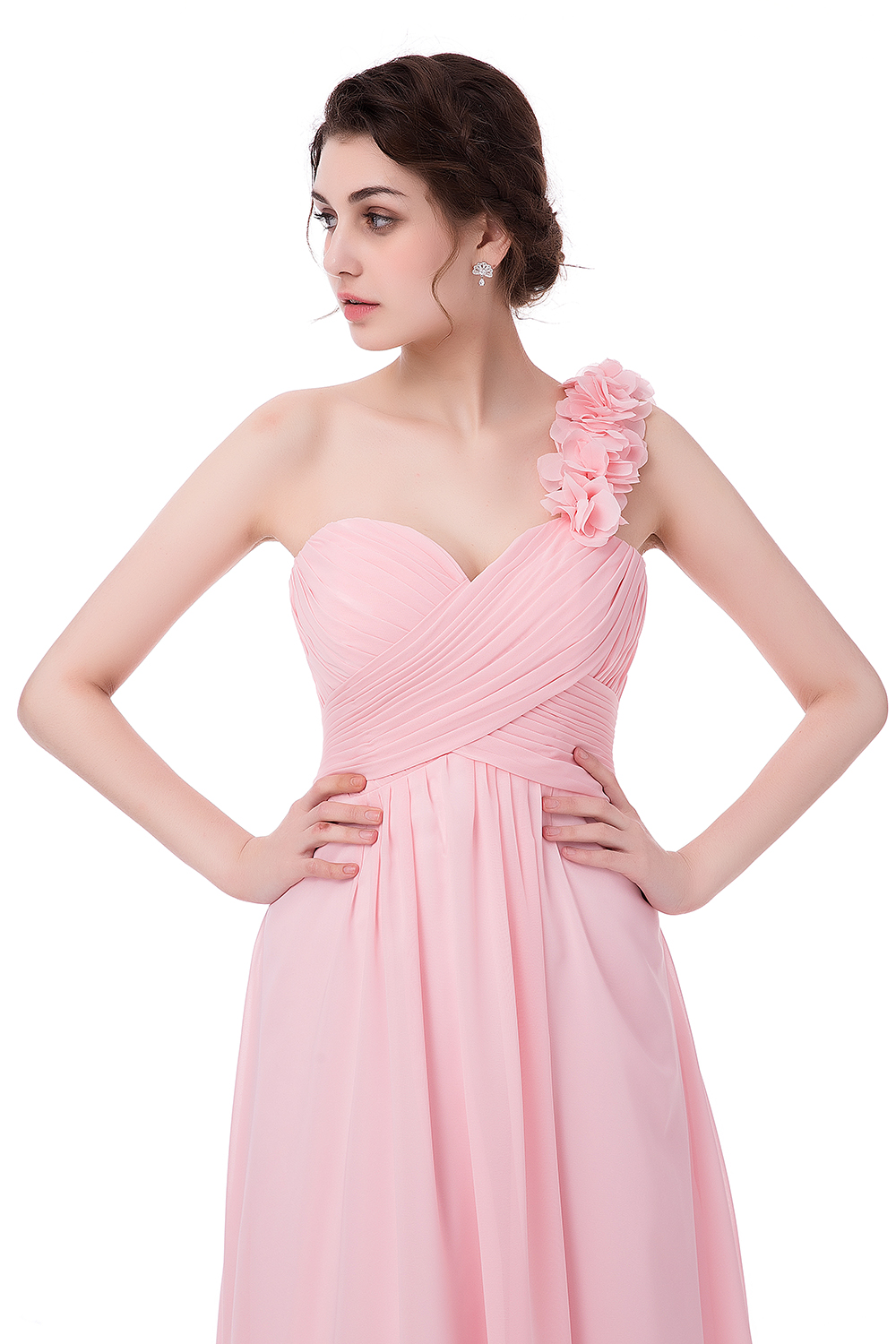 2017 Real Photo Pink Chiffon Bridesmaid dresses Vestido Madrinha ...