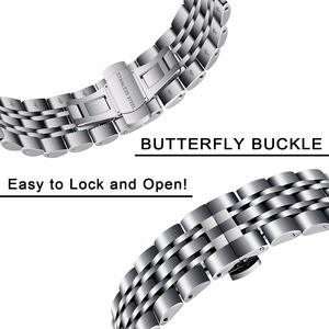 Image 3 - 316L Stainless Steel Watchband + Metal Clip for Samsung Galaxy Watch 46mm SM R800 Gear S3 Replacement Band Wrist Strap Wristband
