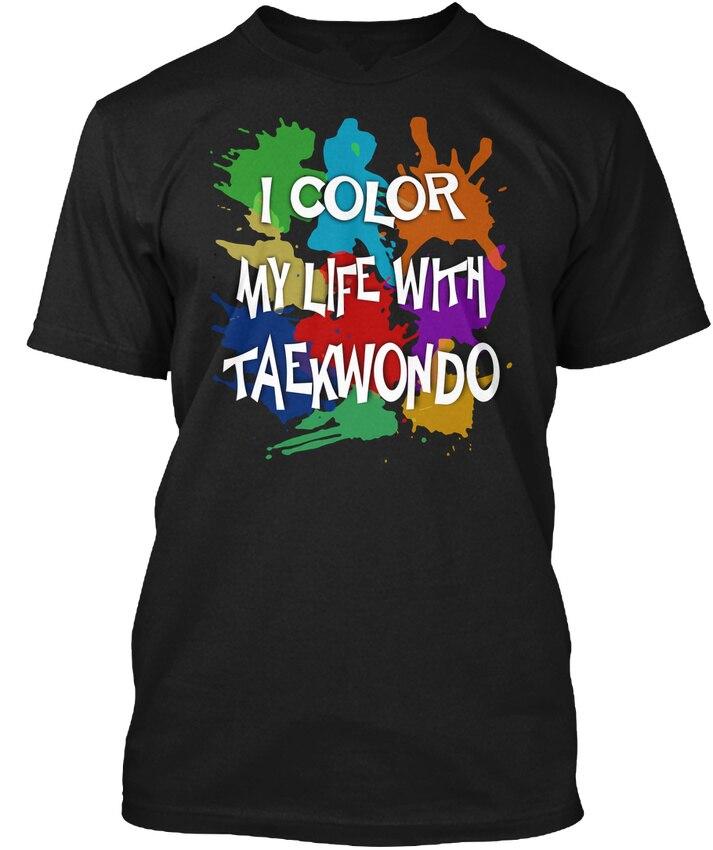 Подростковая натуральный хлопок печатных экипажа шеи с коротким рукавом мода 2018 Цвет вашу жизнь с тхэквондо футболки для Для мужчин