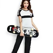 цены на Women Fashion O-Neck Black White Patchwork Color Block Top And Ankle-Length Pants Set Top And Pants Set conjuntos de mujer 2019  в интернет-магазинах