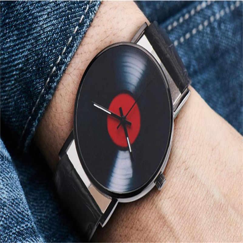Creative ויניל רשומות אופנה עיצוב גברים נשים לשני המינים מקרית רטרו רצועת עור אנלוגי סגסוגת קוורץ שעון יד xfcs saat שעון