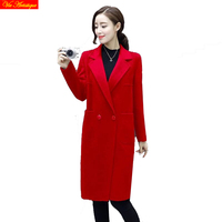 Черный красное пальто женские шерстяное пальто зима длинное пальто Slim Fit 2018 Новинка осени модный стиль серый фиолетовый теплые куртки