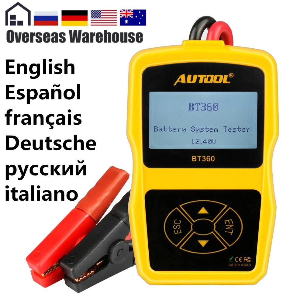 Autool BT360 de batería de coche de 12 V Digital analizador portátil de CCA voltímetro de Multi-idioma mala prueba vehículo