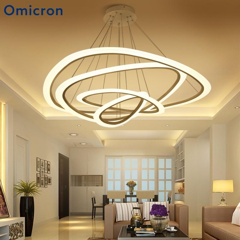 Omicron White Golden Modern Pendant Lights For Living Room Dining Room 2/3/4/5 Circle Rings Metal Body LED Pendant Lamp platinum omicron