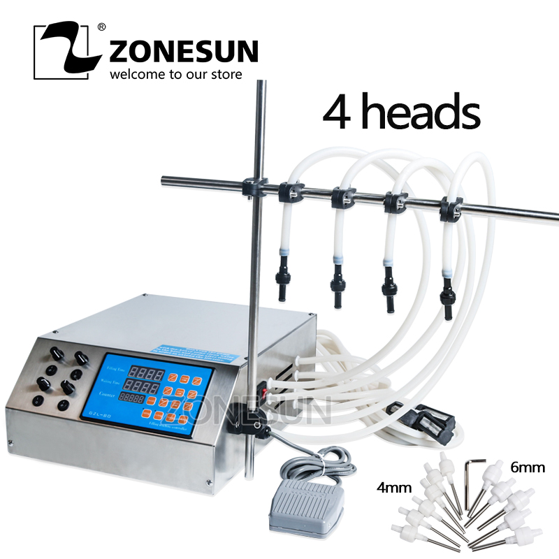 ZONESUN 4 Nozzles Bottle Water Filler Semi-automatic Liquid Vial Desk-top Filling Machine For Juice Beverage Sauce Oil Perfume zonesun pneumatic a02 new manual filling machine 5 50ml for cream shampoo cosmetic liquid filler