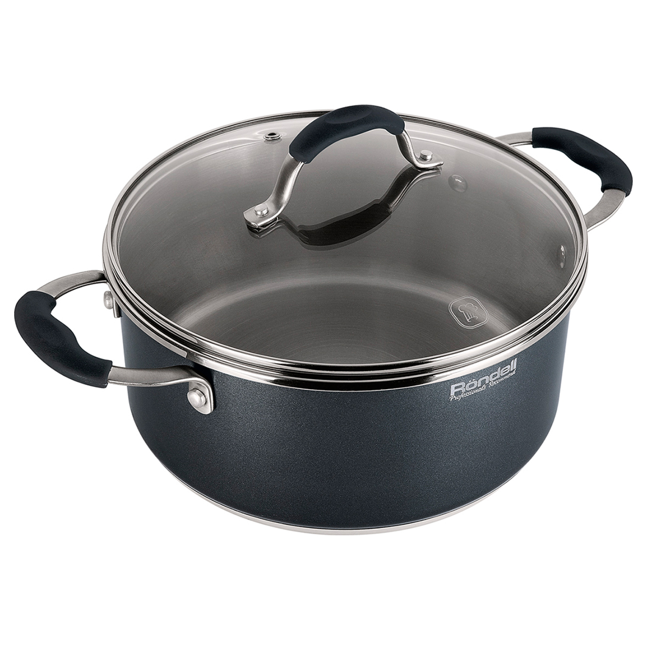 Pot with lid Rondell Stern RDS-019 (Diameter 24 cm, volume 4.7 l stainless steel non-stick coating, suitable for all types of plates) цена в Москве и Питере