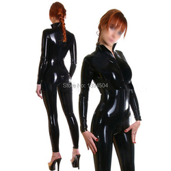 2018 sexy ecotic ceke Stand Collar Women female handmade black Latex Catsuit Front Zipper Through Crotch Tight-fitting Jumpsuit