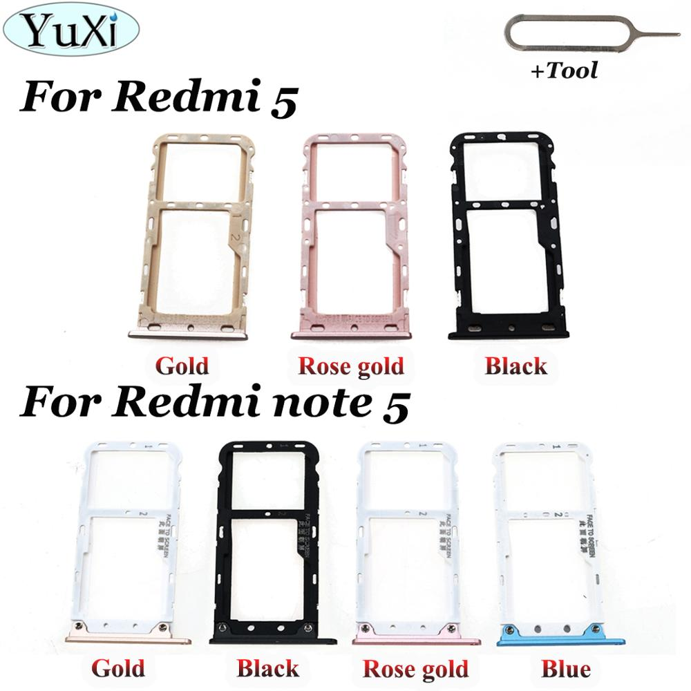 YuXi For Xiaomi Redmi 5 SIM Card Tray SIM Card Holder Adapter For Xiaomi Redmi Note 5 Note5 SIM Card Slot Miscro SD TF Card Tray