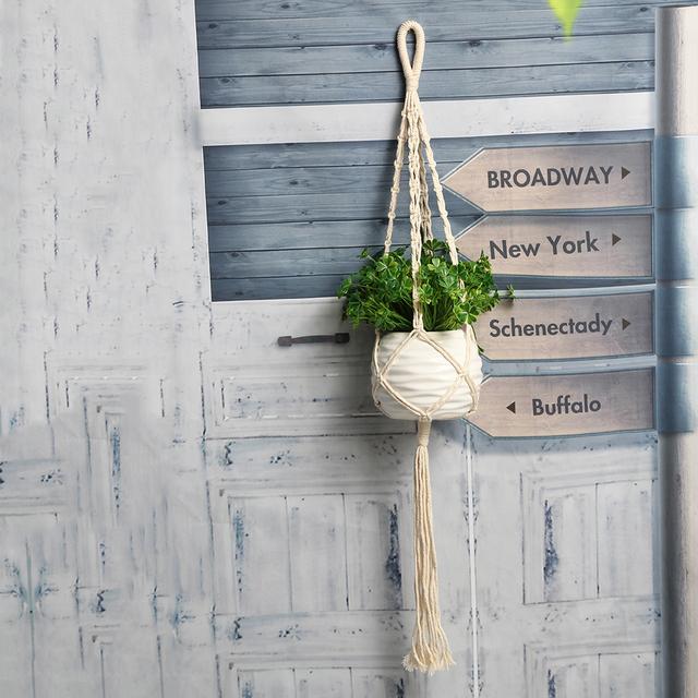 85cm Vintage Macrame Plant Hanger Flowerpot Holder String Hanging Rope Wall Art