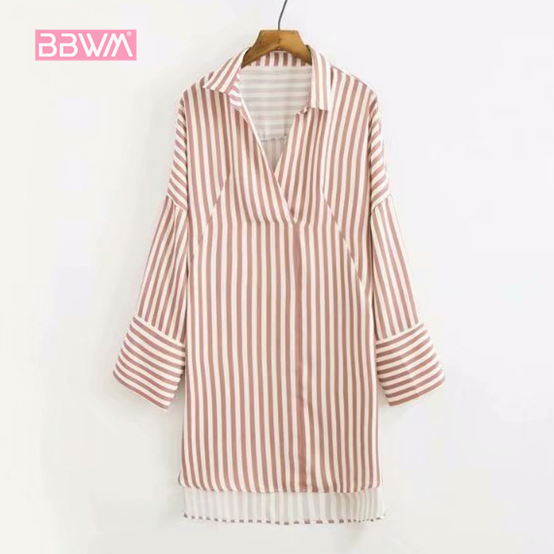 Blouses & Shirts Rapture Korean Version Of The Summer Lanterns Cuff Head Blue And White Stripes Fashion Stripes V-neck Long-sleeved Shirt 2018 Women Carefully Selected Materials