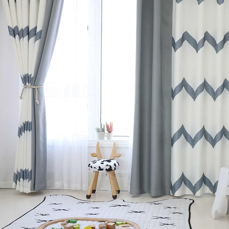 [byetee] Modern Striped Mosaic Window Curtain Bedroom Balcony Curtain Blackout Curtains For Living Room Cortina Cortinas