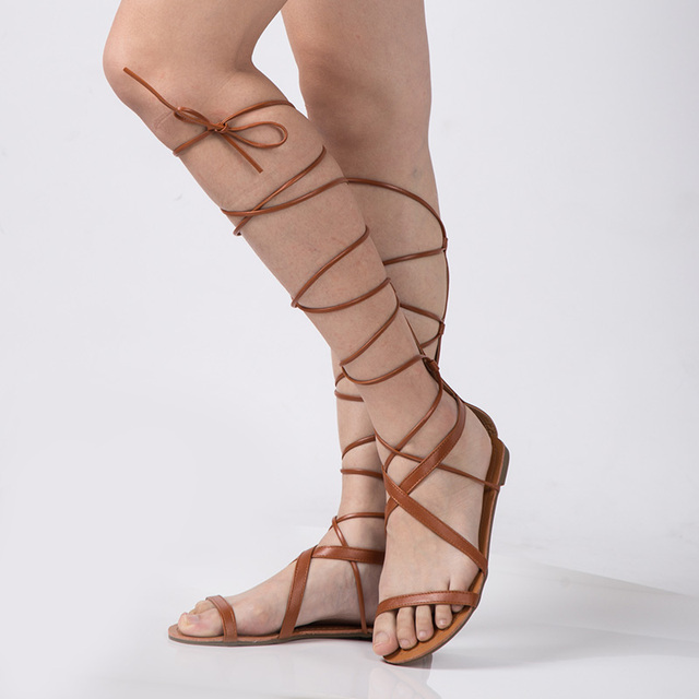 New 2017 Shoes Women Sandals Lace Up Sexy Knee High Boots Gladiator Tie String Casual Flat Designer Top Quality Size 4-10