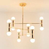 Lustre do vintage conduziu a lâmpada interior ferro ouro metal bar café moderna sala de jantar teto decoretion luminária AC110 265V Lustres     -