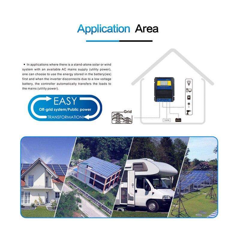 Automatique ATS double commutateur de transfert de puissance contrôleur de Charge solaire pour système de vent solaire DC 12V 24V 48V AC 110V 220V grille marche/arrêt - 6