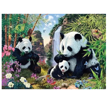 Moge diamond painting panda family bamboo waterfall embroidery eat Mosaic paint