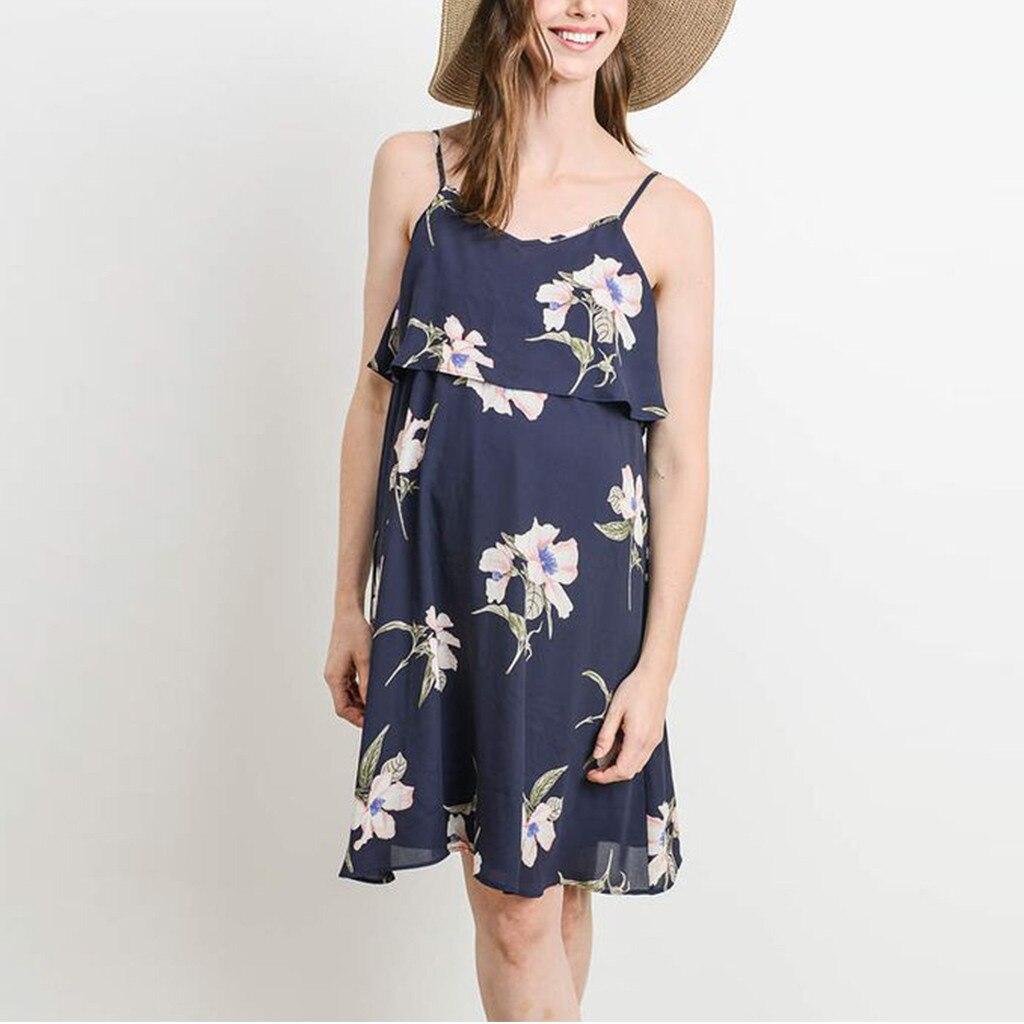 Women Maternity Sleeveless Strap Long Dress Pregnant Summer Casual Vest Sundress