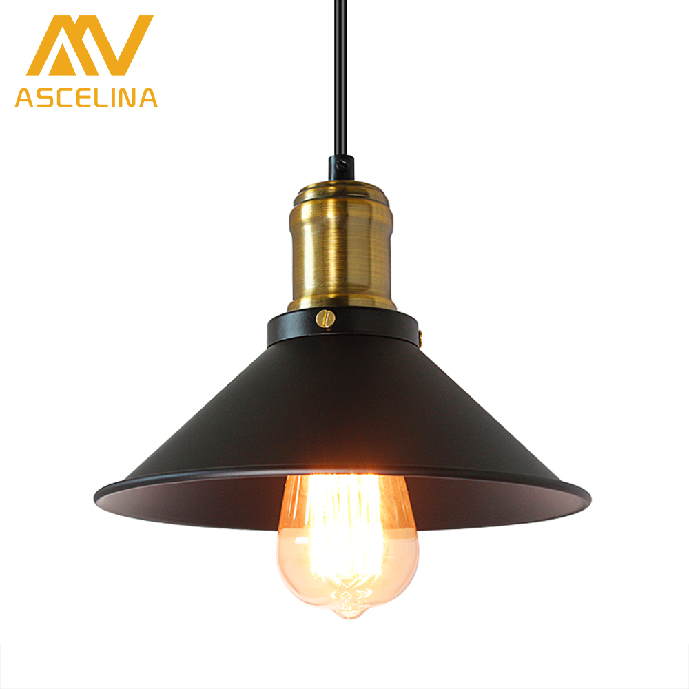 ASCELINA Loft Pendant light Vintage led lamp kitchen light fixtures black lampshade industrial lighting Diameter22cm E27 85-260V ascelina led pendant lights loft style industrial lighting vintage hanglamp with lamp shade for living room e27 85 260v