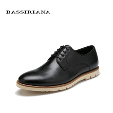 BASSIRIANA Shoes men genuine leather Lace-Up round toe spring autumn Russian size 39-45 Black Brown Free shipping