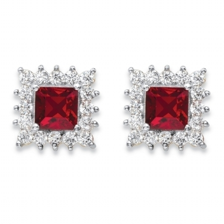 PalmBeach Jewelry 58834 1.06 TCW Princess-Cut Ruby Red Crystal & White Cubic ZirconiaHalo Stud Earrings 14k Yellow Gold-Plated yoursfs 18k white gold plated austria crystal soliraire anniverary rings with princess cut