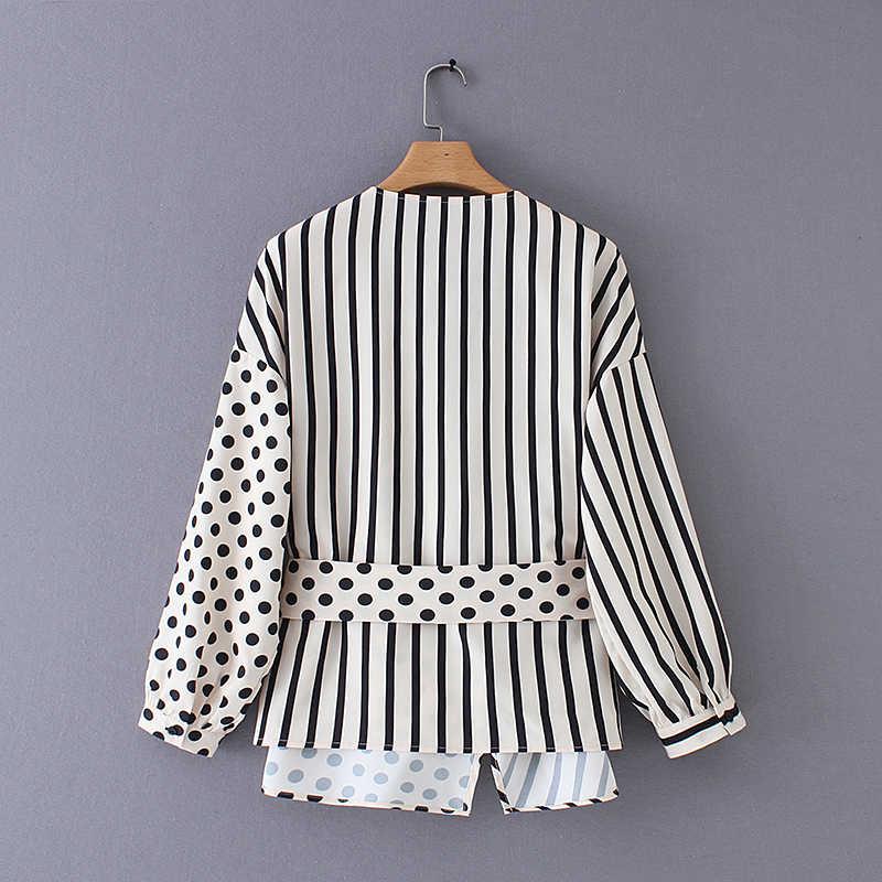 Женская блузка в горошек с v-образным вырезом и принтом в стиле пэчворк, женская блузка с бантом и поясом, кимоно, блузки, шикарная сорочка, топы LS3515