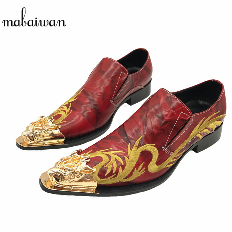Mabaiwan Fashion Casual Men Shoes Red Leather Loafers Gold Embroidery Slipper Wedding Dress Shoes Men Slip On Handmade Flats branded men s penny loafes casual men s full grain leather emboss crocodile boat shoes slip on breathable moccasin driving shoes