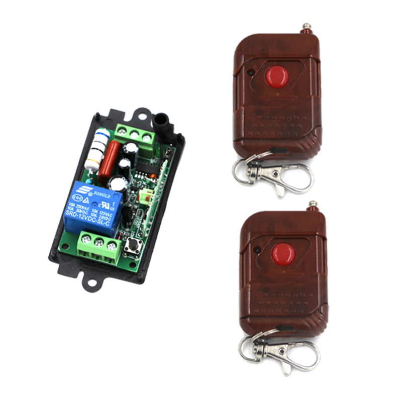 AC220V 110V 10A 200M 1 Channel Wireless Learning Code Gate Garage Door Led light Remote Control Switch Relay for Water Pump 4178 digital 12v 1 channel fixed code rf gate garage door 1 transmitter and 12 receiver remote control switch 4313