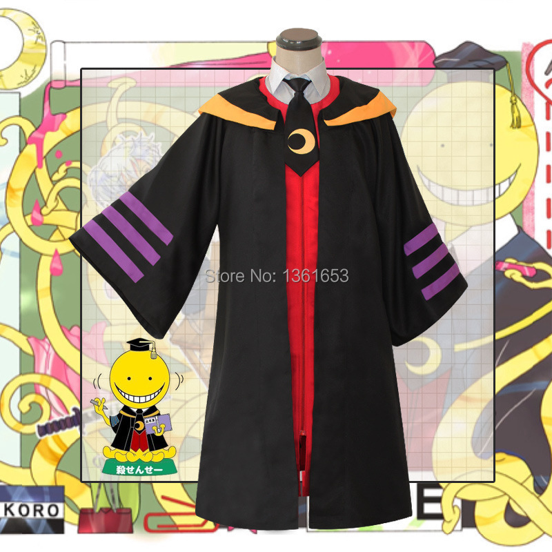 Ansatsu Kyoushitsu japanese anime cosplay costumes hood black robe for men and women school uniform