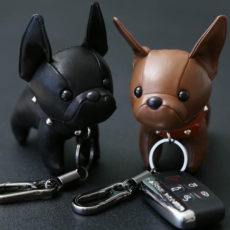 Dog Keychain Faux Leather Bulldog Animal Keyring Key Holder Bag Animal Charm New