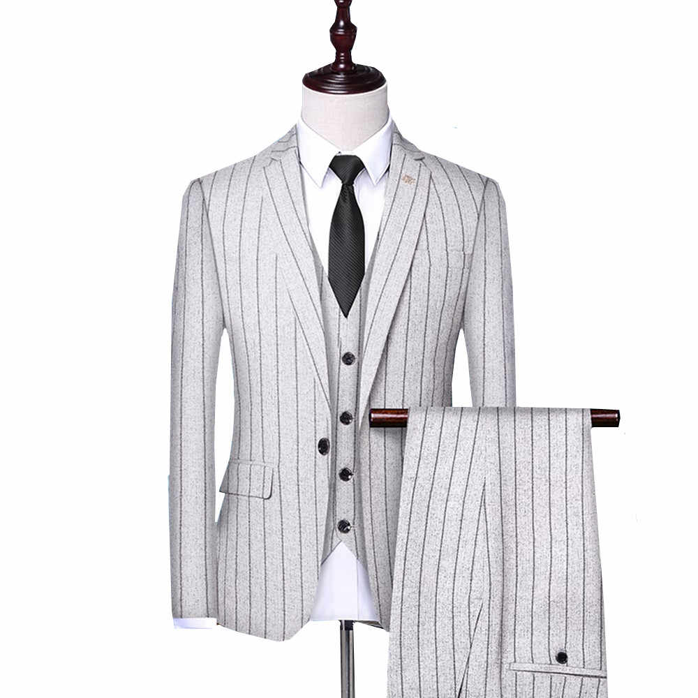 3 Pieces Set Mens Suits stripe Slim Fit Wedding Suits Groom Tuxedos Formal Business casual Work Wear Suits (Blazer+Pants+Vest)