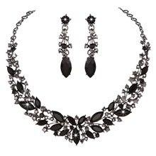 Colorido cristal austriaco collar y Pendientes nupcial boda Juegos de joyería para las mujeres Marquise joyería Navidad esposa regalo