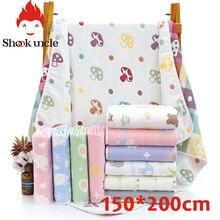 Детское банное полотенце, 6 слоев, хлопок, марля, муслин, детские одеяла, постельные принадлежности для новорожденных, пеленание, детское Хлопковое одеяло, 150*200 см