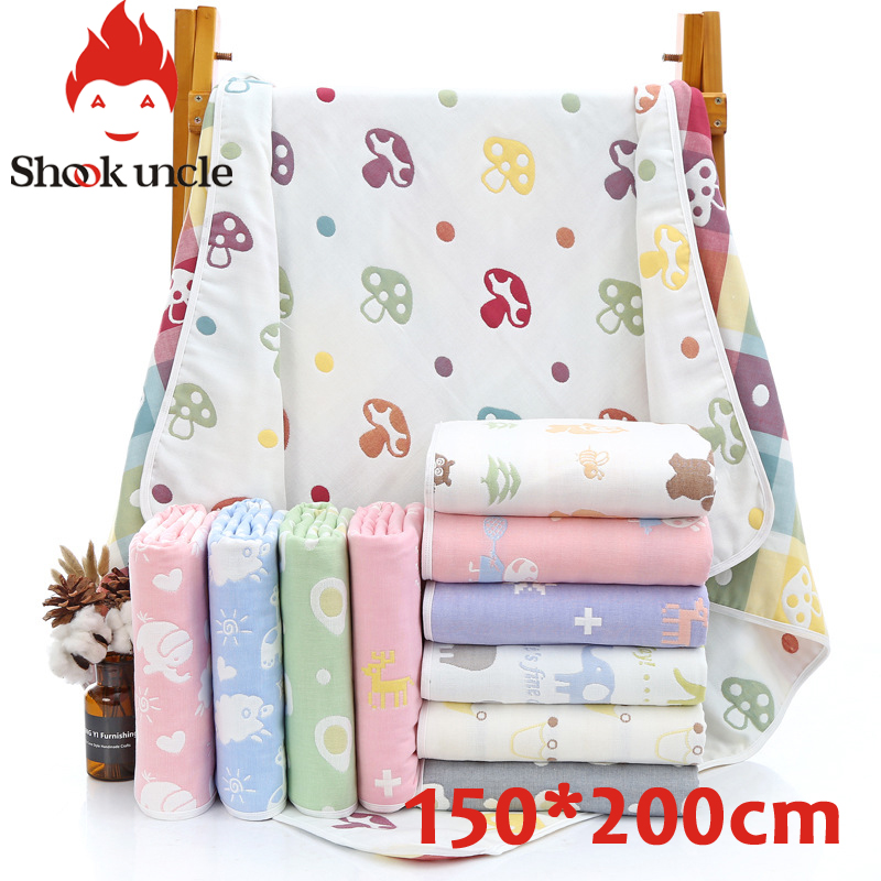 Baby Bath Towel 6 layer Cotton Gauze Muslin Children Blankets Bedding Infant Newborn Swaddle Kids Cotton Wrap Quilt 150*200 cm