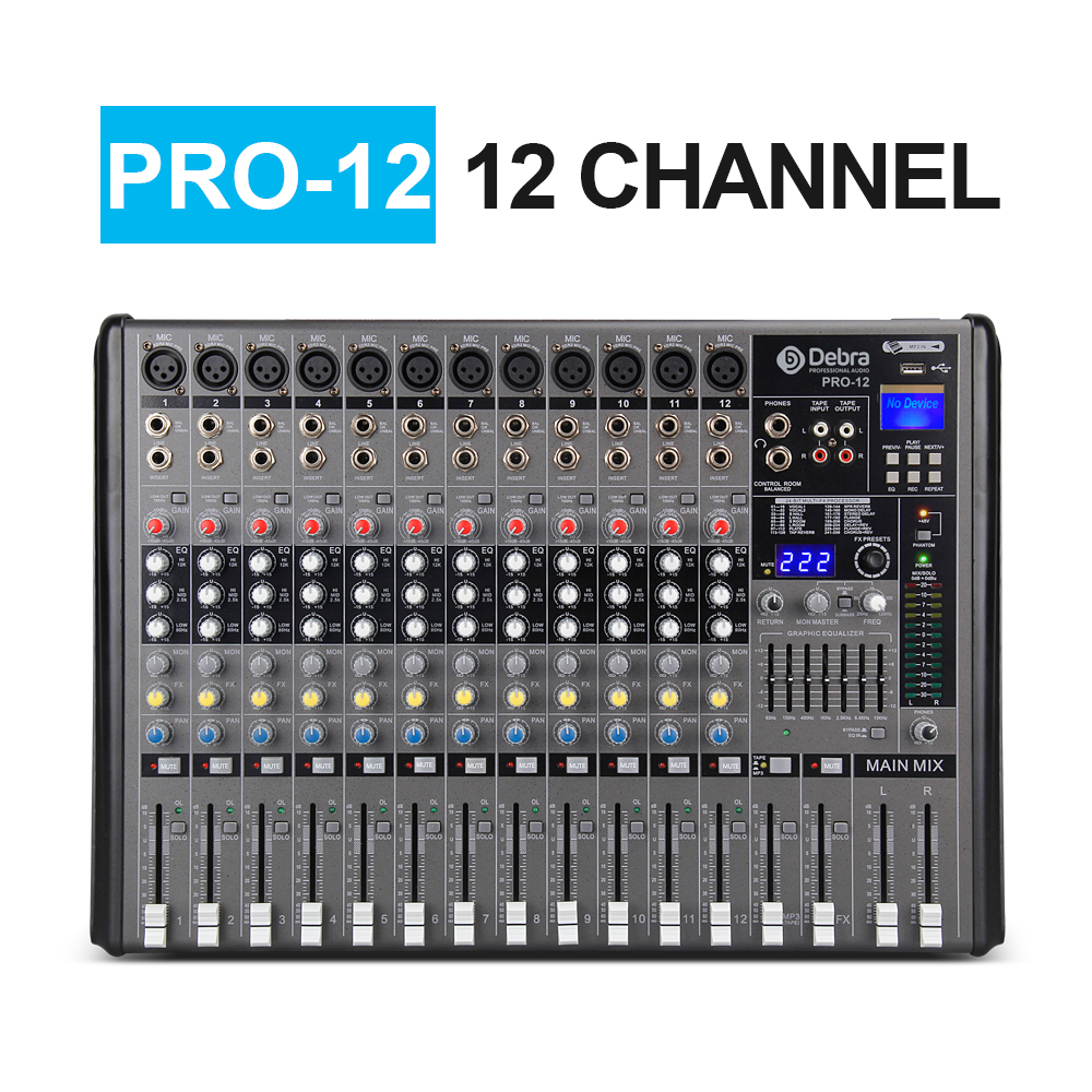 US $305 97 7% OFF|Professional Debra Audio PRO 12 Channel with 256 DSP  Sound Effects Bluetooth Studio Mixer Audio DJ Sound Controller Interf-in DJ
