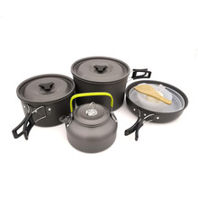 Outdoor Camping Cookware Set 4-5 Person Camping Cook Pot Frying Pan Teapot Spoon Set For Outdoor Hiking Picnic Cooking Equipment