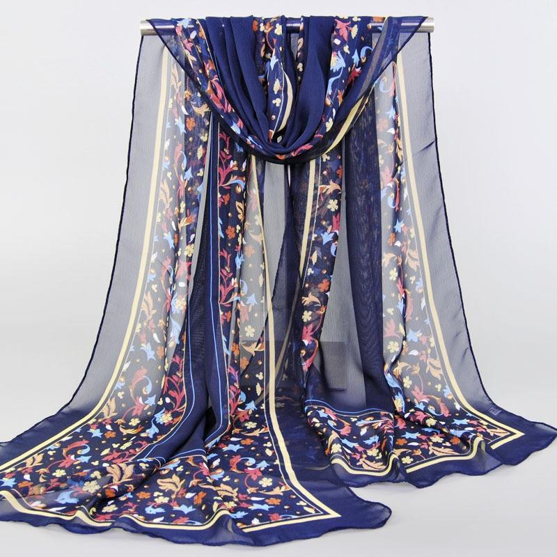 Chiffon Silk Scarf Foulard Women Bohemia Long Shawls Printed Flower Wraps Sunscreen Cape Scarves Muslim Hijab Sjaal Echarpe