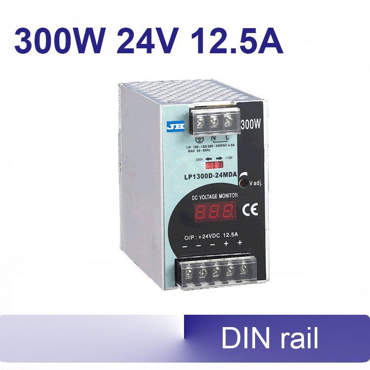 24V DIN rail switching power supply 12.5A 24v 300W 85~132VAC/176-264VAC (switchover)  input high efficiency dhl ems md 240 24 1 din rail power supply metal case 24v 10a output 85 264vac input c4 d9