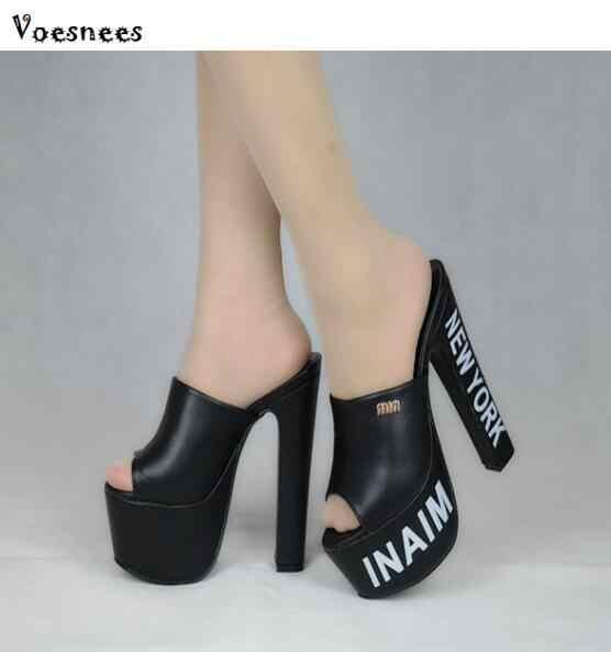 3bb4f73b172 Women Shoes 2019 High Heel 18cm Thick Soles Peep Toe Model Catwalk ...