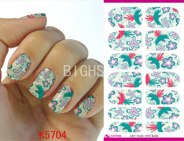 Bird Flower Full Cover Gel Nail Stickers For Nails Art Water Adhesive Decoration Transfer