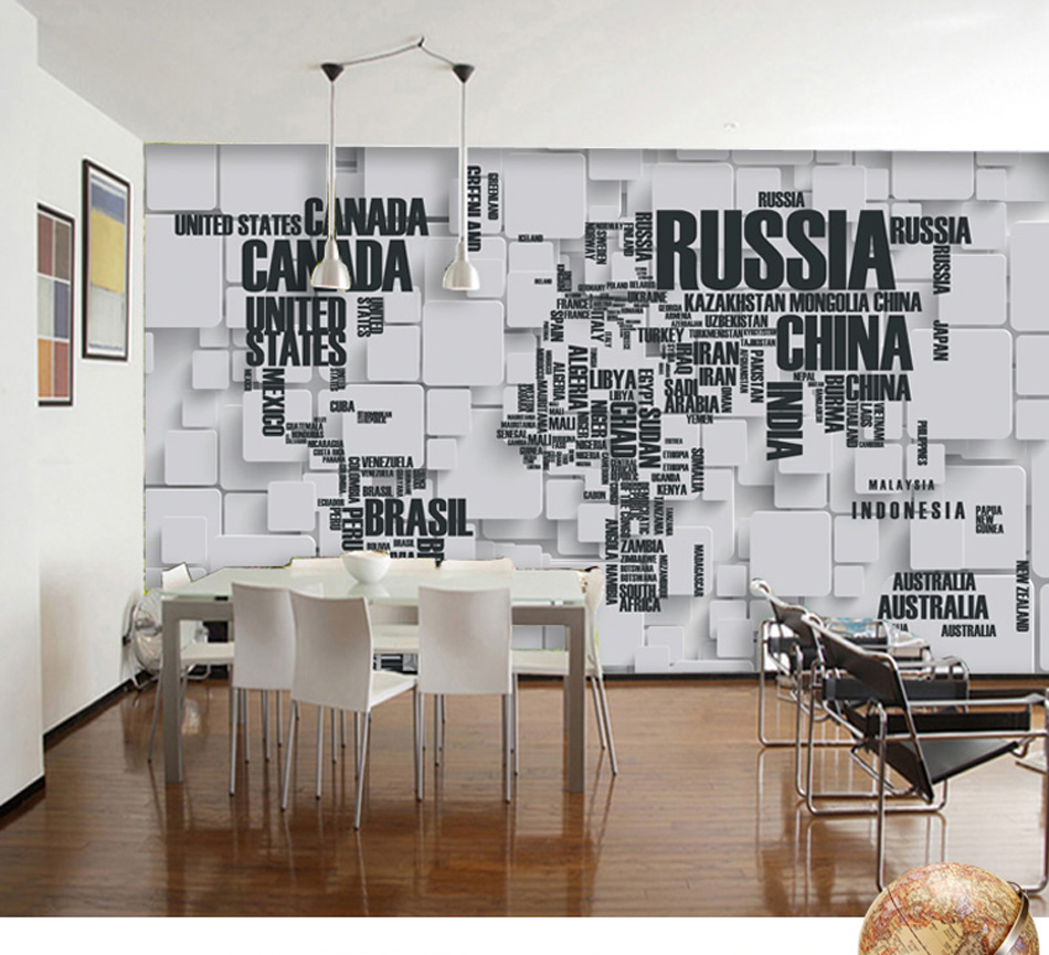 4 Style 3d Any Size Custom Russia Canada World Map Wallpaper Mural Rolls For Office Hotel