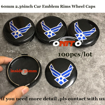 100pcs/set 60mm 2.36inch Auto Rims wheel center covers ABS Car Emblem Wheel hub Caps for Navy logo badge good quality