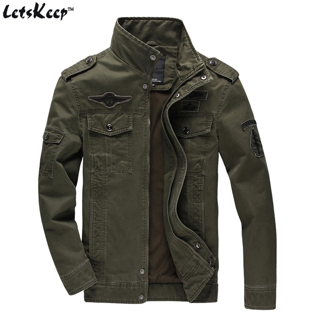 2017 LetsKeep 6XL mens spring Bomber Jacket Men badge military ...