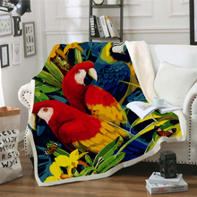 Plstar Cosmos colorful Parrot brid Blanket 3D print Sherpa on Bed Kids Girl Flower Home Textiles Dreamlike style-13