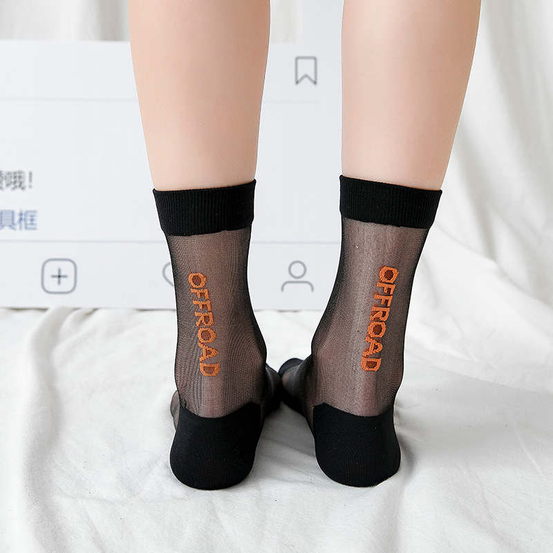 Women Casual   Socks   1 Pair 2019 Spring New Girl Women Fashion Long Leather Thin   Socks   Woman breathable Transparent Korean Style