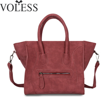 VOLESS Fashion Smile Women Bag Scrub Pu Leather Women Handbags Crossbody Bags For Women Designer Trapeze Messenger Bag sac