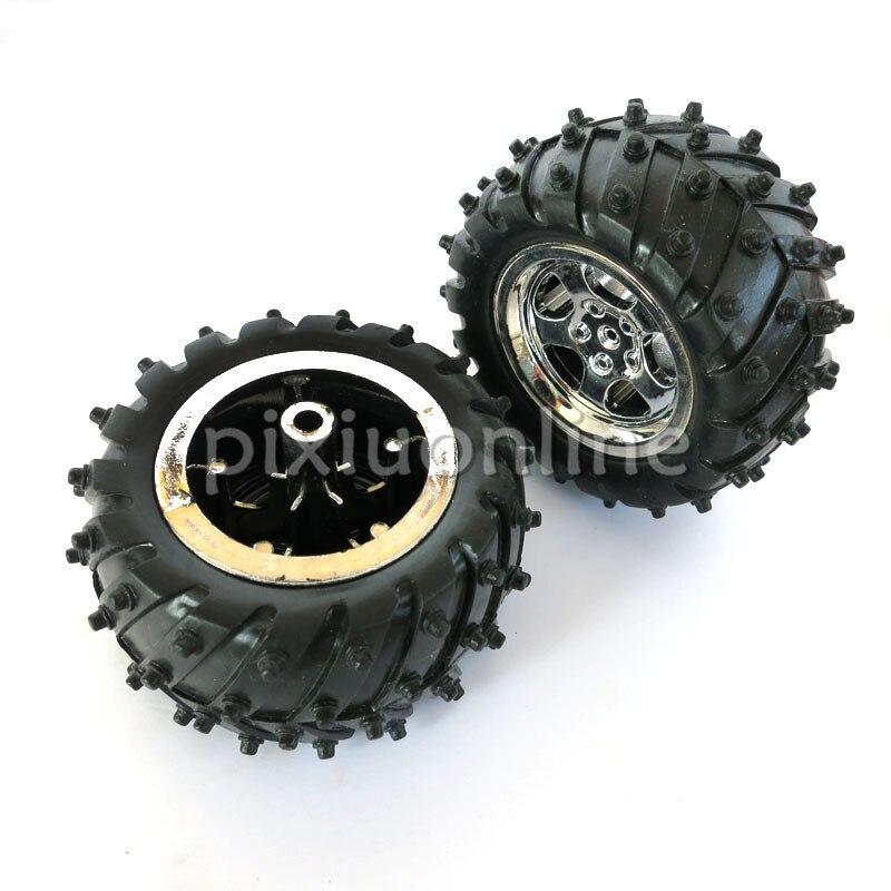 2pcs/lot J252 3*55 DIY Model Off-road Vehicle Wheel Rubber Tire and Silver Plating Hub DIY Model Making Free Shipping Korea недорого