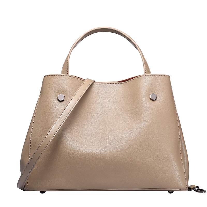 ФОТО Women's luxury simple solid color shoulder bag minimalist summer commute tote composite bag genuine leather handbag bolsas