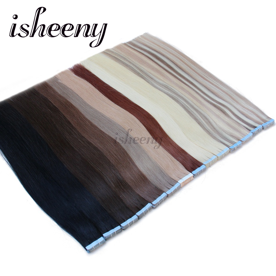 "Isheeny Remy Human Hair Tape Extensions Straight 14""-24"" Skin Weft Seamless Hair Extension Samples For Salon Hair Testing"