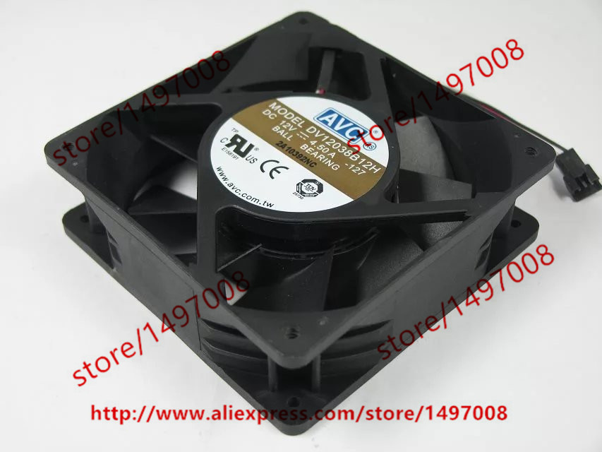 Free Shipping For AVC DV12038B12H -127 DC 12V 4.50A 3-wire 3-pin connector 110mm 120x120x38mm Server Square Cooling Fan