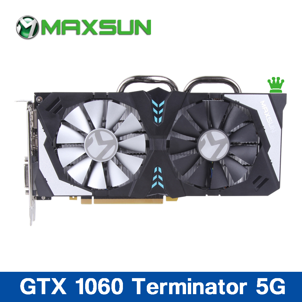 US $318 0 |Maxsun GTX1060 5G Graphics card 160bit 8000MHz 1257MHz 1280units  120W 14nm 8pin TDP GDDR5 DP*3+HDMI+DVI videos Cards for Gaming-in Graphics