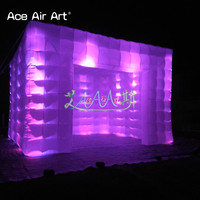Popular 3.9m led lighting show cube inflatable bar tent,display cabinet for wedding with free blower